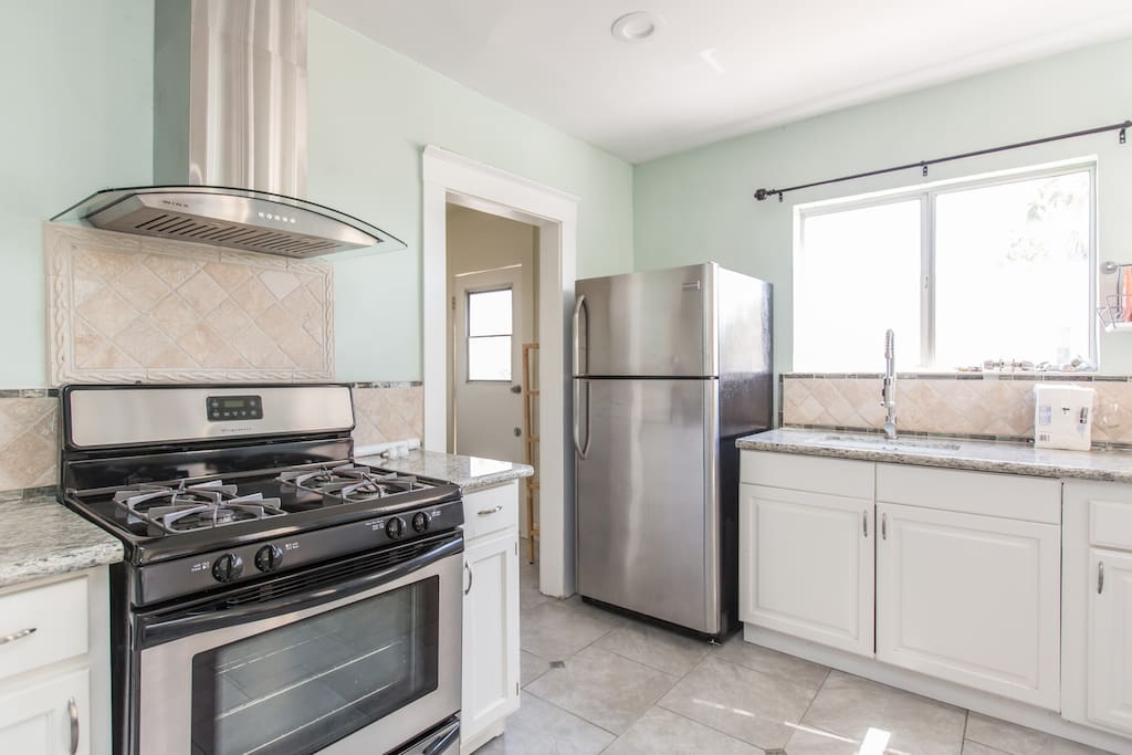 Complete with stainless steel gas stove and oven, refrigerator for a home cooking