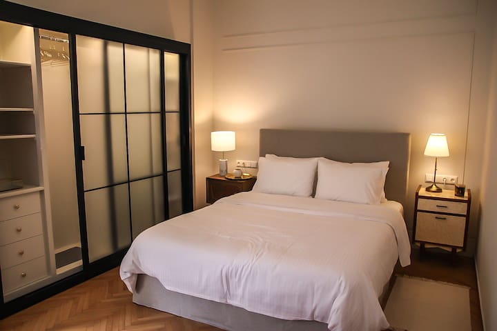 """Athens Feelings Cartier Apartment queen size  bed with the  famous """"Silk""""  royalty mattress from Linea Strom."""