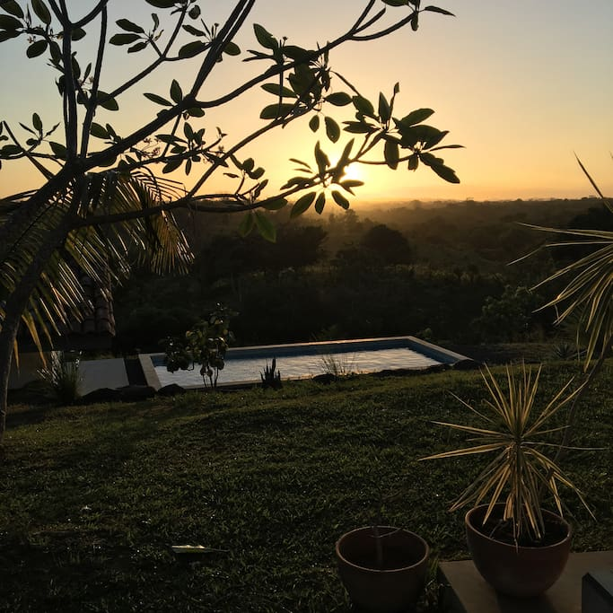 Take a refreshing dip as you watch the sun setting over the Azuero Hills. This is the view from the front porch hammock.