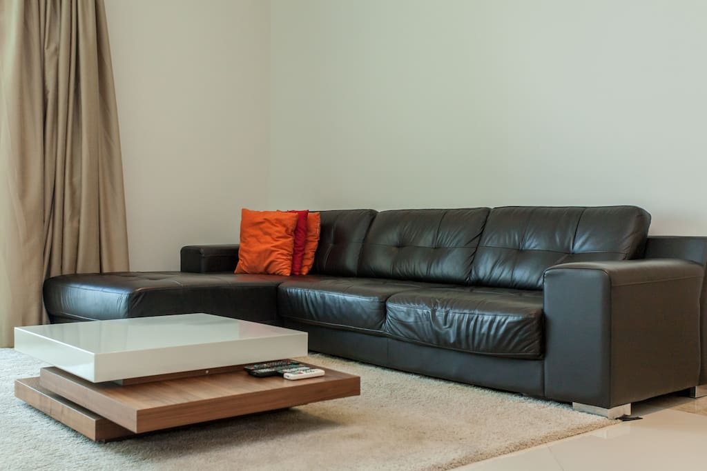 Living room with quality leather sofa