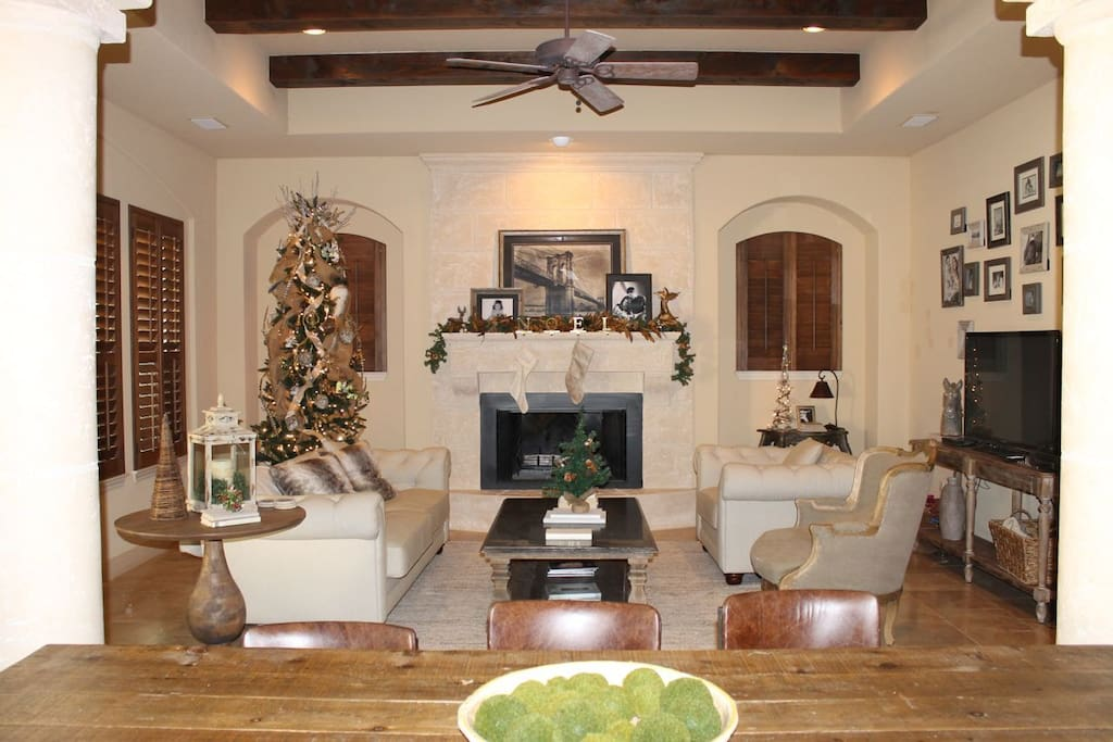 Great room at Christmas: festive, warm, and inviting.