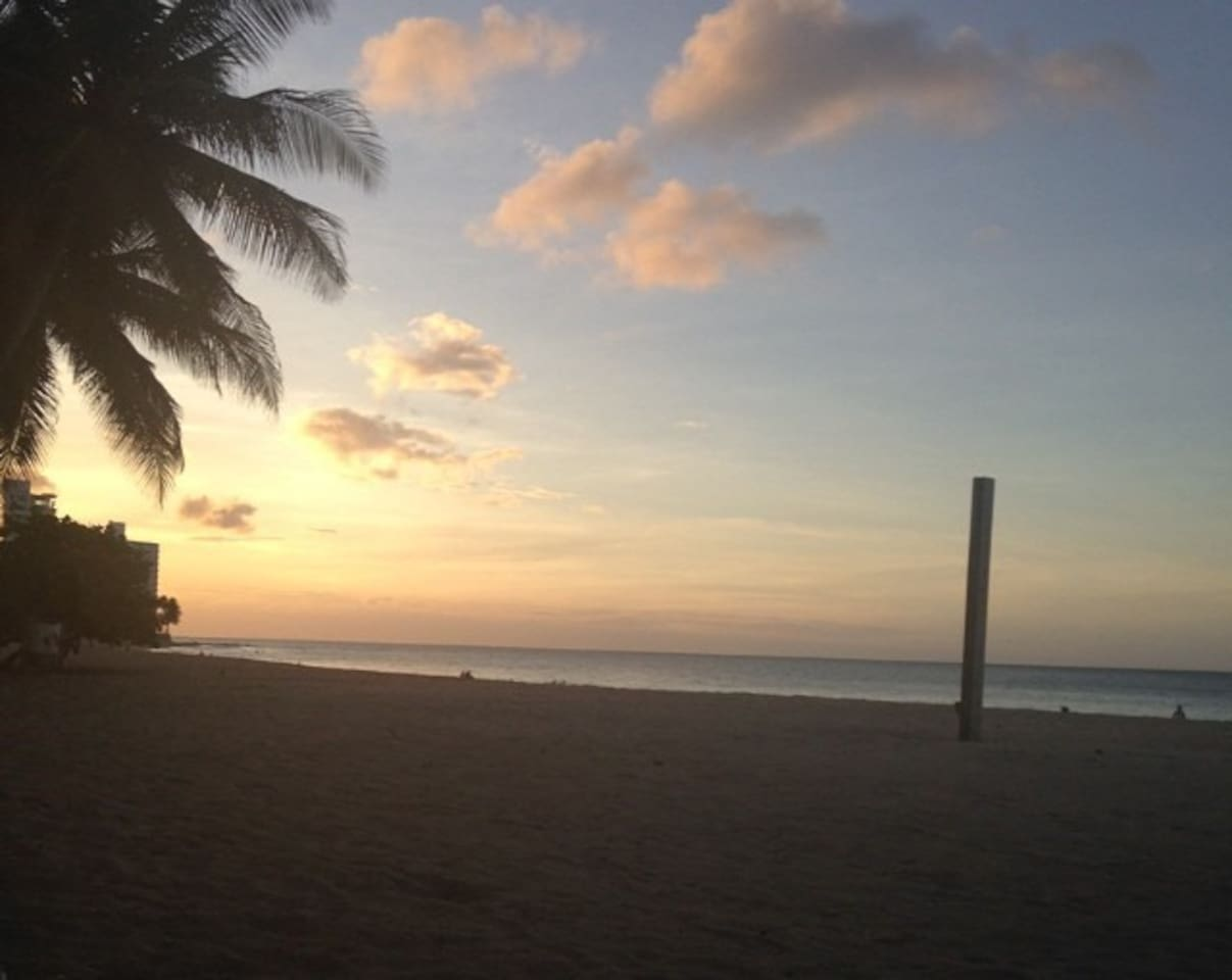 Beach 1 block walking distance from the house. Boasts some amazing water sports, tanning and sunset opportunities.