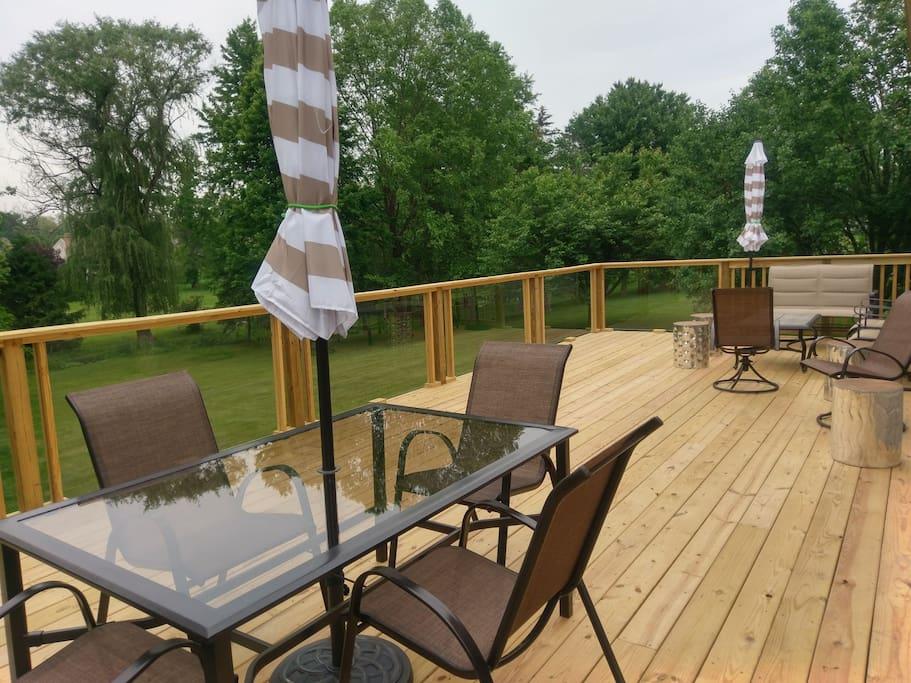 Brand new deck overlooking big backyard.