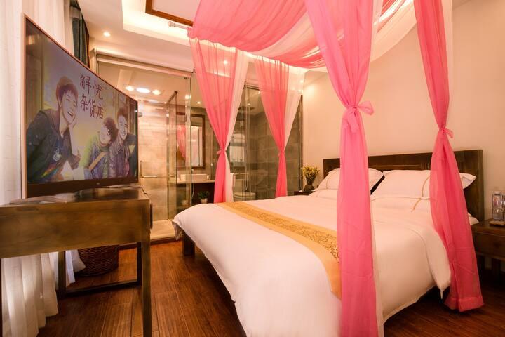狮子山豹友之家古城观景客栈温馨大床房