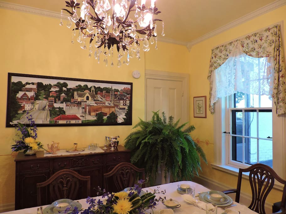 Dining room.  Find the hidden hippo in the painting!