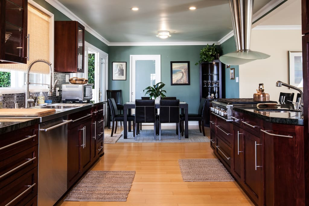 Gorgeous gourmet kitchen with high-end appliances.
