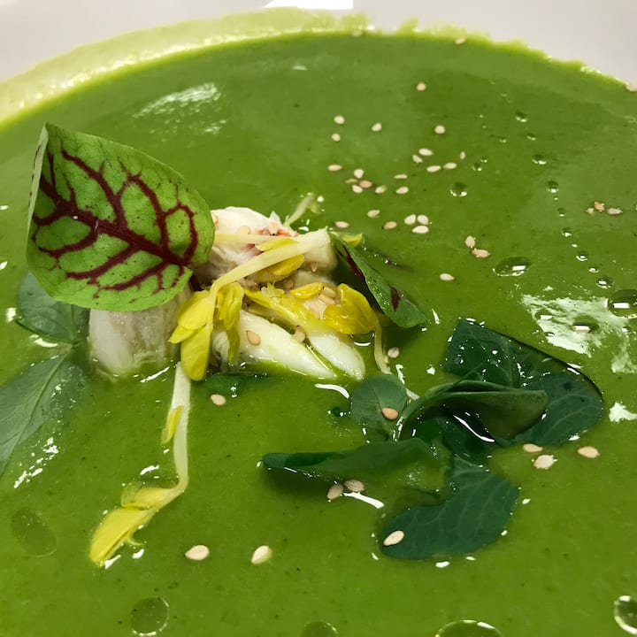 Chilled spring pea soup with lump crab