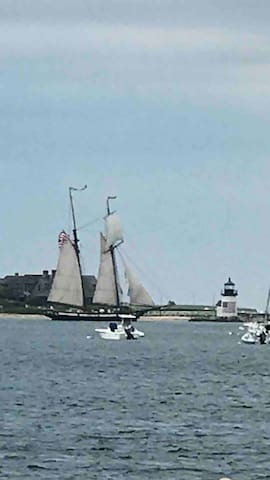 Actual view of brant point lighthouse and the Lynx from the patio