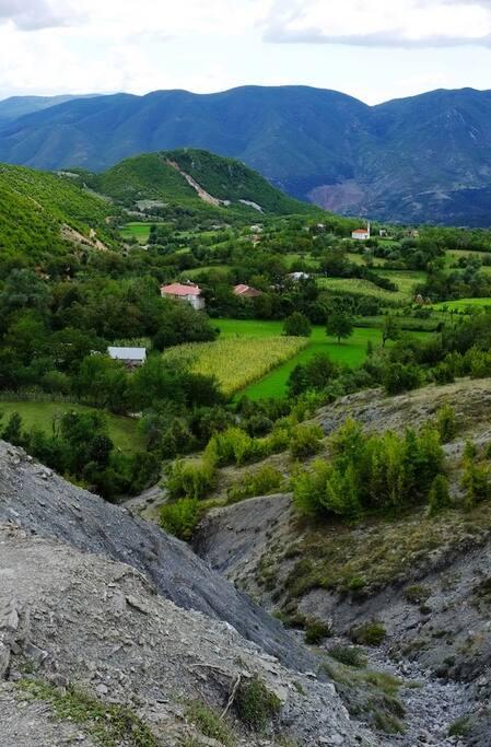 Villa Balla from the mountain behind Orenjë