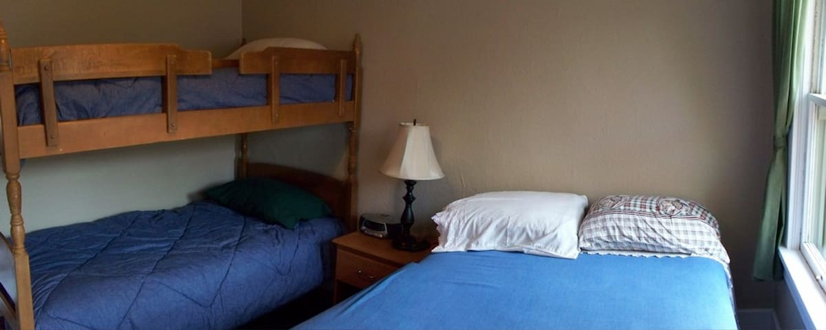 Second bedroom, double bed plus bunk beds