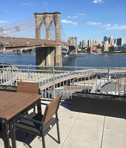 Beautiful studio apartment for rent at the foot of the Brooklyn Bridge in the newly renovated South Street Seaport  / Fulton market area. Short walk to most major subway lines: 2/3, 4/5, A/C/E, R, & J/Z. Rooftop terrace with amazing view of Brooklyn.