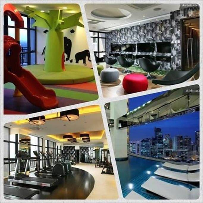 Fitness gym, daycare, infinity pool and the game room