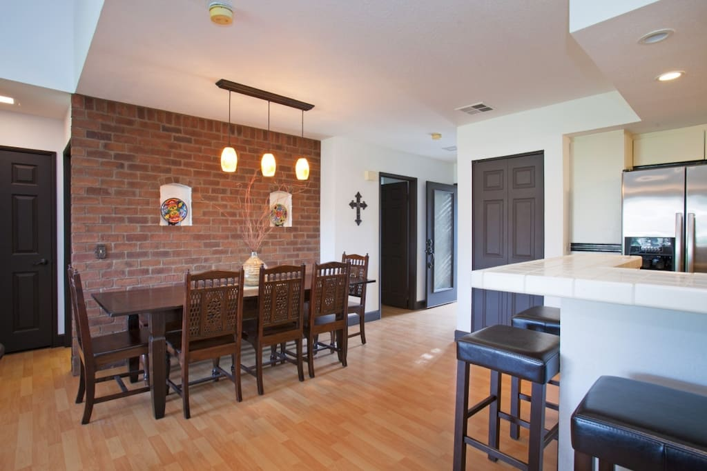 Dine in and enjoy the modern decor and layout