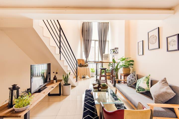 【慢居】宽窄巷子附近 新城市广场旁 清新舒适loft 一起虚度时光可好~