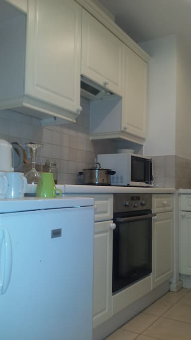 Modern kitchen with microwave, cooking range, fridge and electric kettle