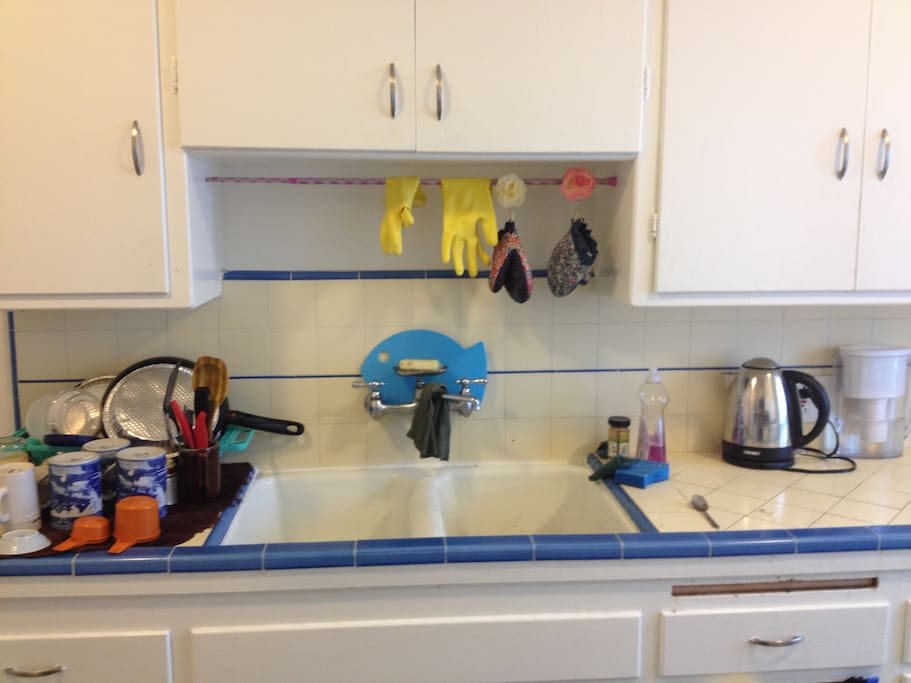 Our adorable kitchen is well-equipped