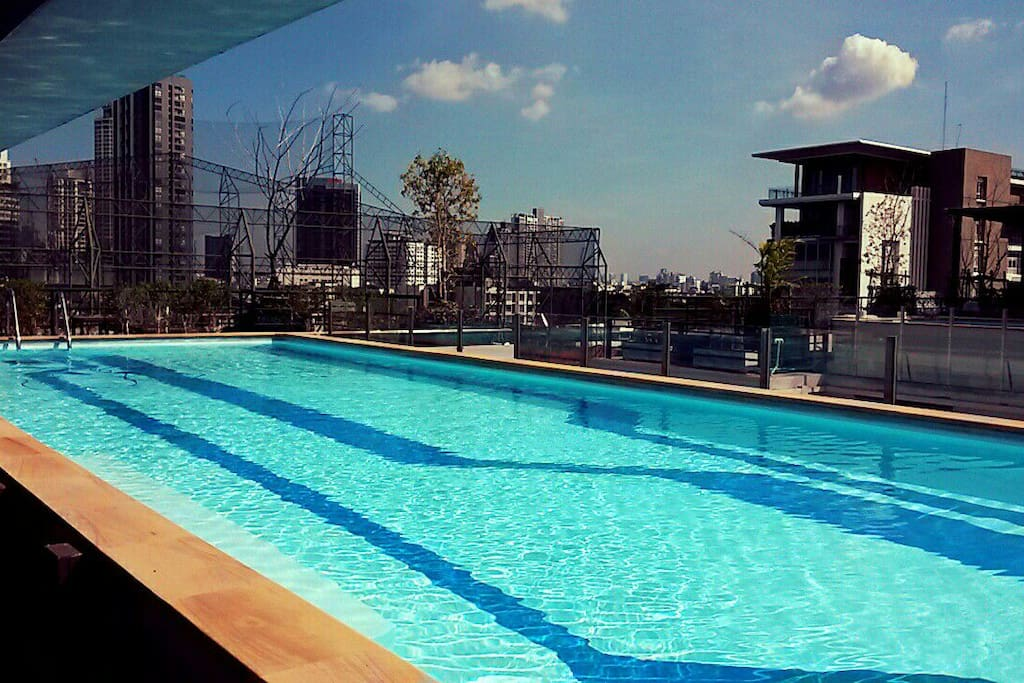 Pool on rooftop. 8th floor then walk up stair to pool area.