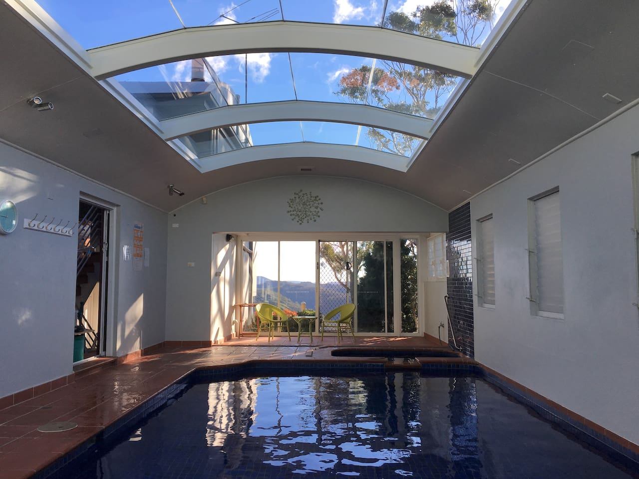 Indoor heated Swimming pool and Spa with amazing view