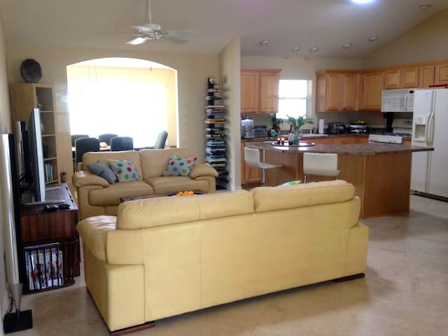 You will have access to the open concept living room and kitchen.