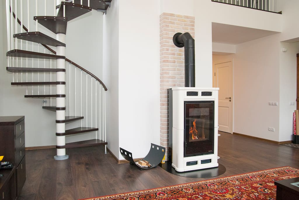 Fire place and stairs to private area