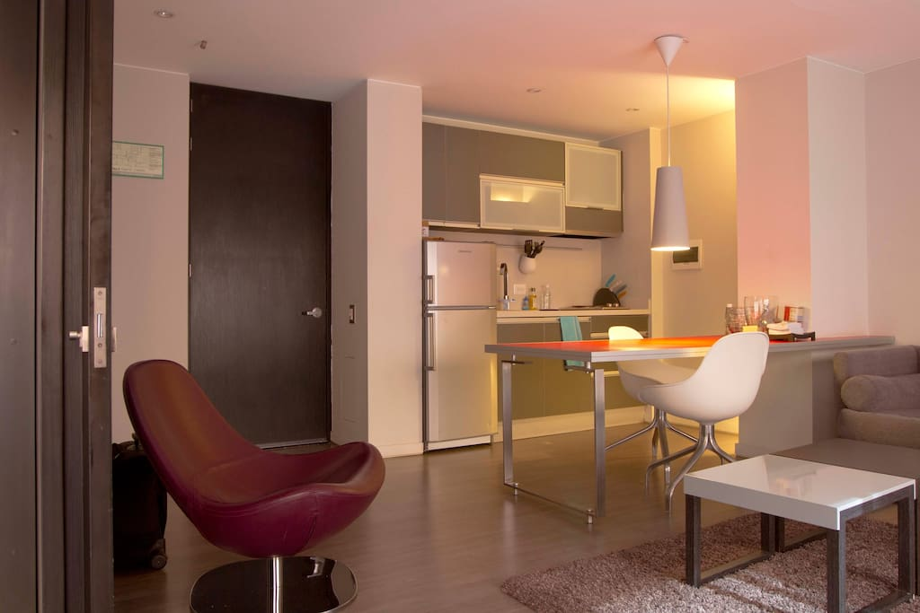 The dinning/living room with a fully equipped kitchen
