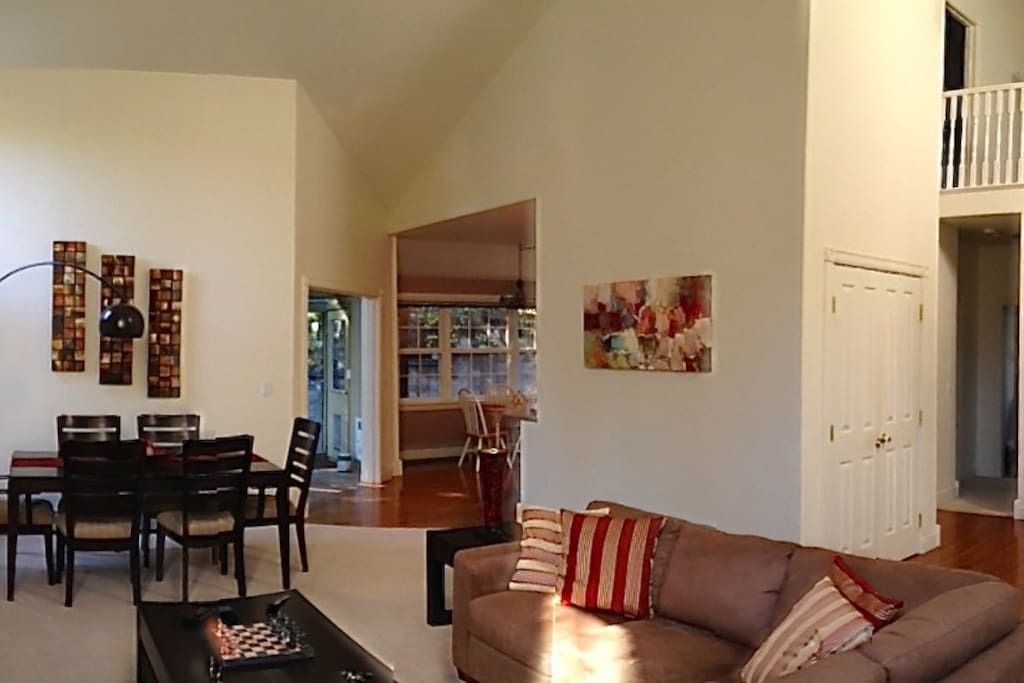 Living room with upper den and master bedroom.