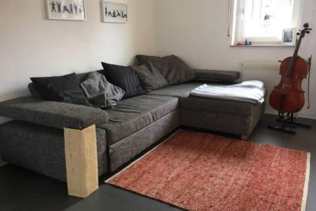 Wohnzimmer mit ausziehbarer Schlafcouch (2 Personen) und großem Flachbildfernseher.