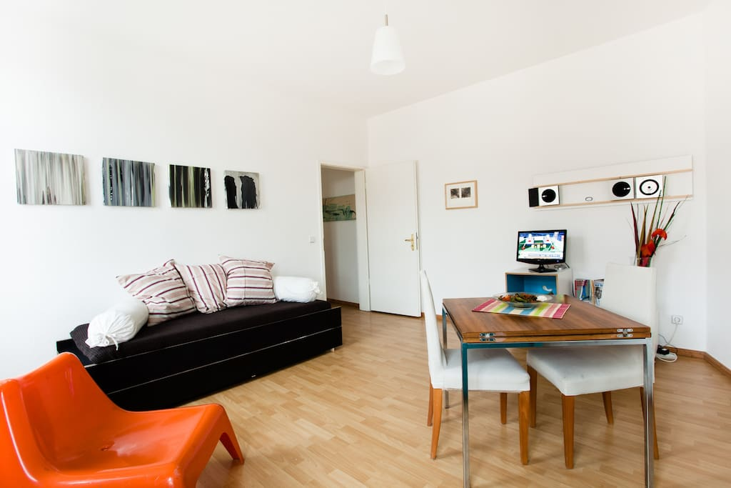 The livingroom converts into a bedroom when they arrive more than two guests