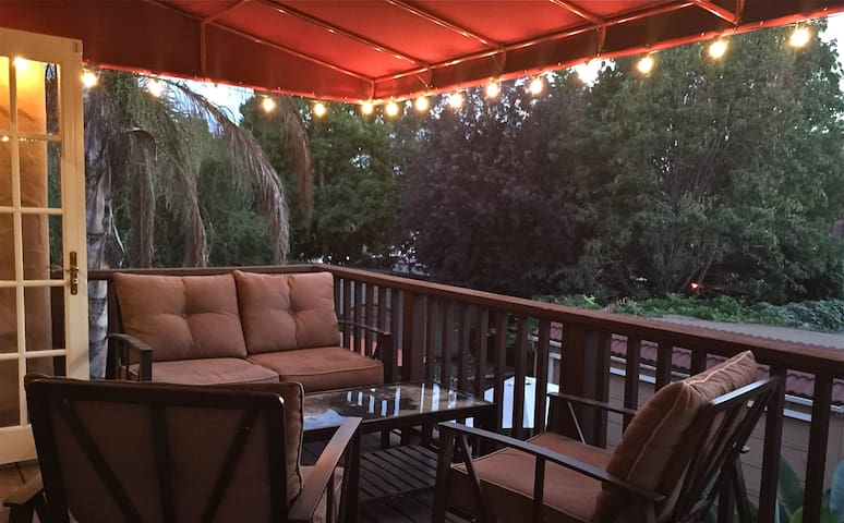 Master Suite Balcony with awning looks over Downtown Willow Glen