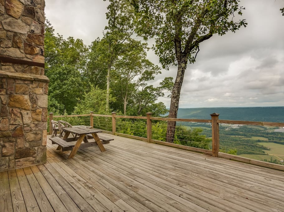 A huge deck with a huge view.