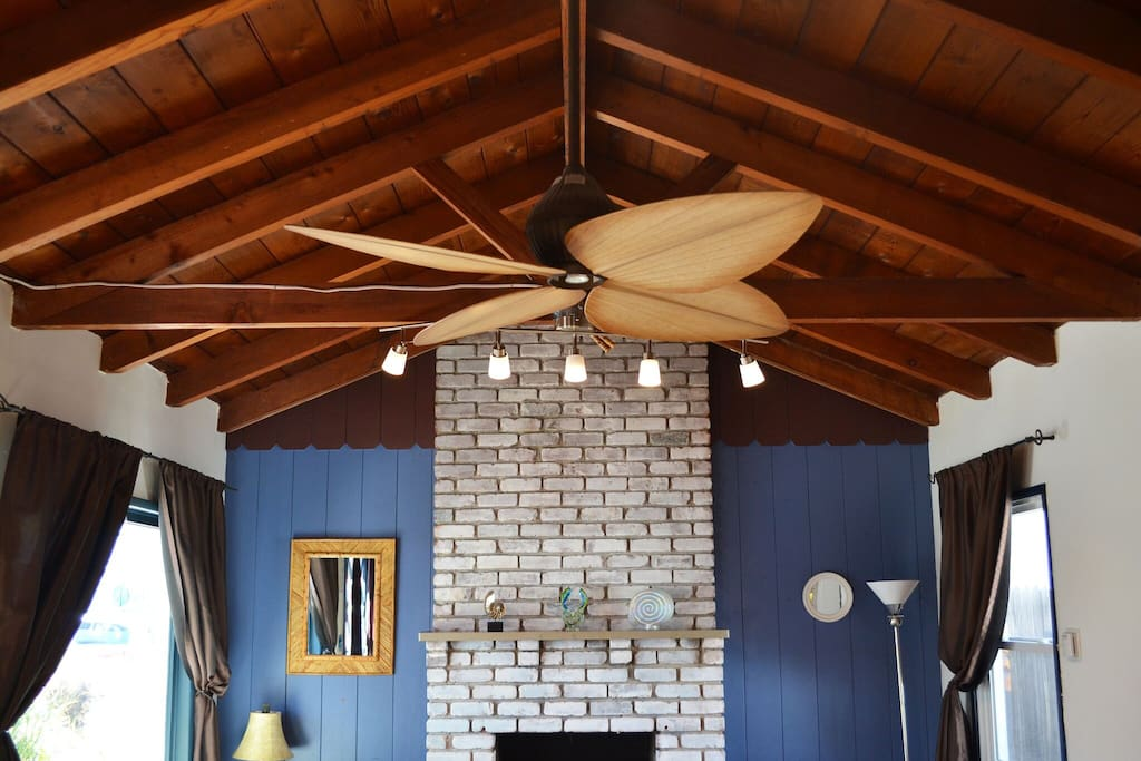 Beautiful vaulted ceilings over fireplace