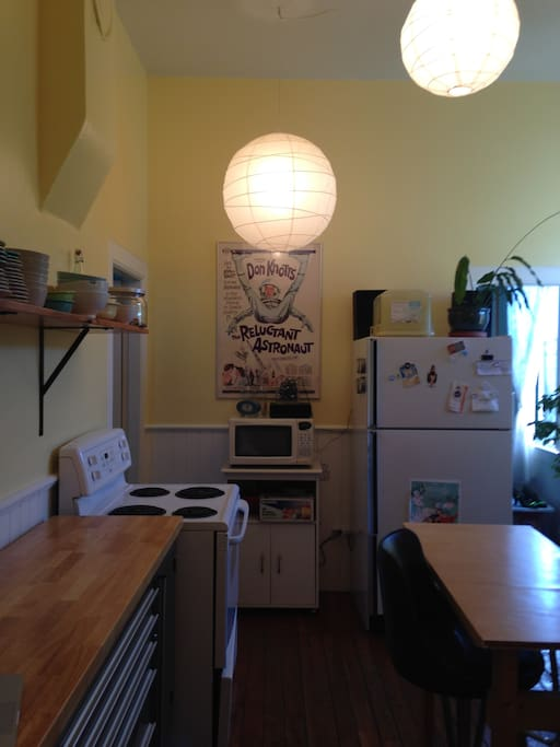 Shared kitchen with lots of room in the fridge for your groceries and full stove.