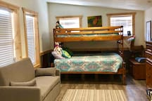 Full size bed with memory foam topper and a twin on top!