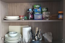 Coffee, tea and dishes for use