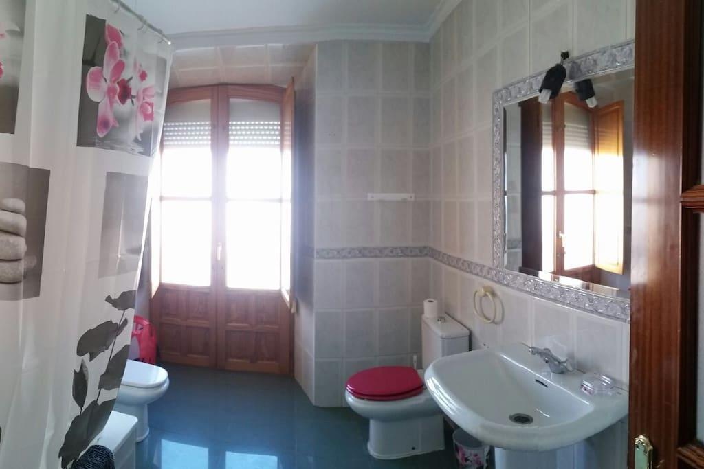 Amplio cuarto de baño con bañera y balcón al exterior