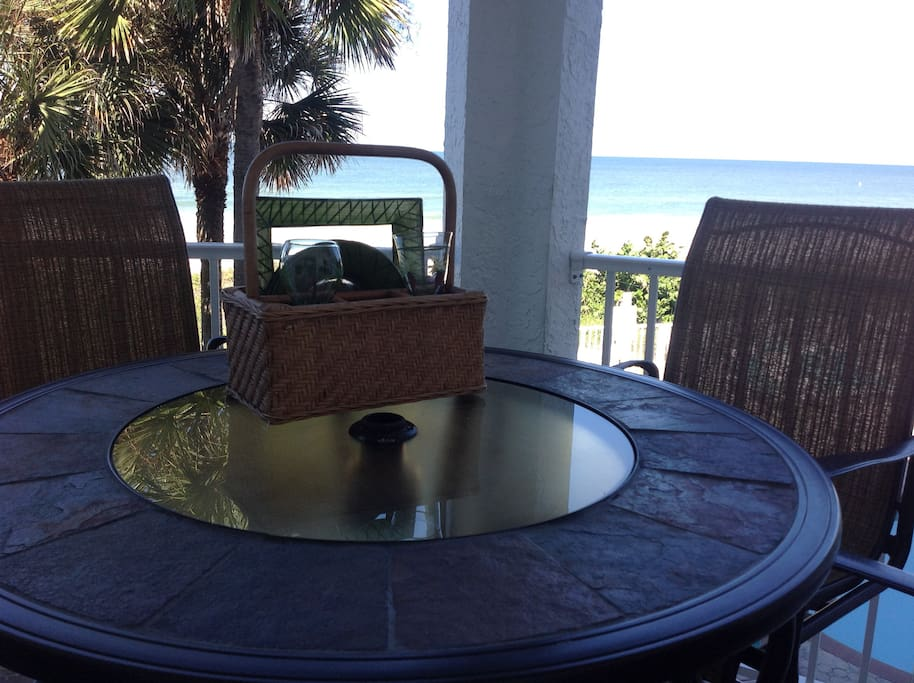 Enjoy a glass of wine overlooking Gulf of Mexico.