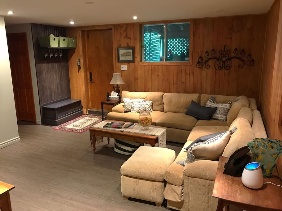 Large main living area with down-filled couch and plenty of space to relax after a long day of touring. This couch is also great for that extra guest.