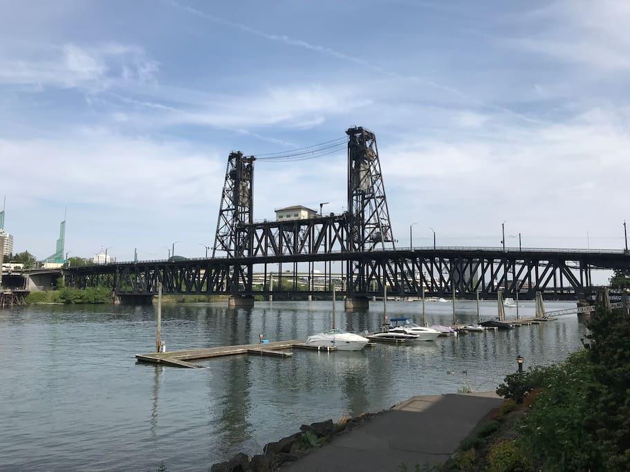 Property sits between the Steel and Broadway Bridges along the Willamette River.  Steps from easy walks/cycle rides all along the West Side of the Riverfront of Downtown Porland.  Pedestrian crossing over to East side of River on lower part of the Steel Bridge show above.