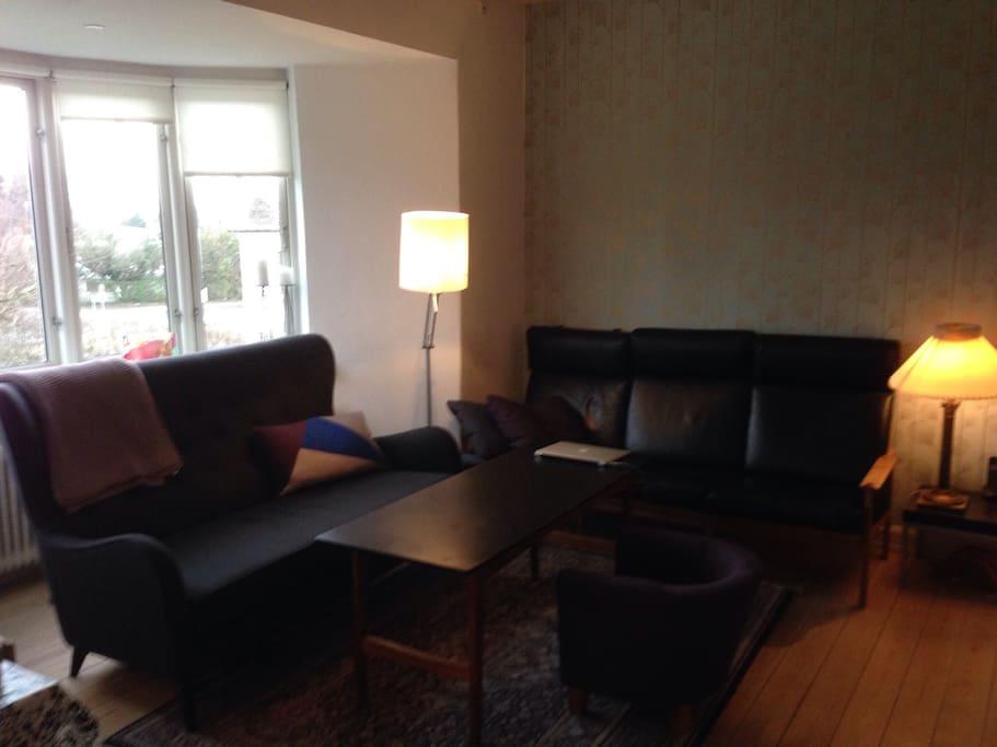 Hyggelig og rummelig stue.