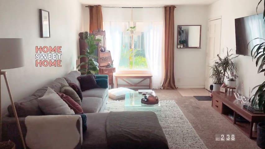 Large Mid century/ boho Living room space