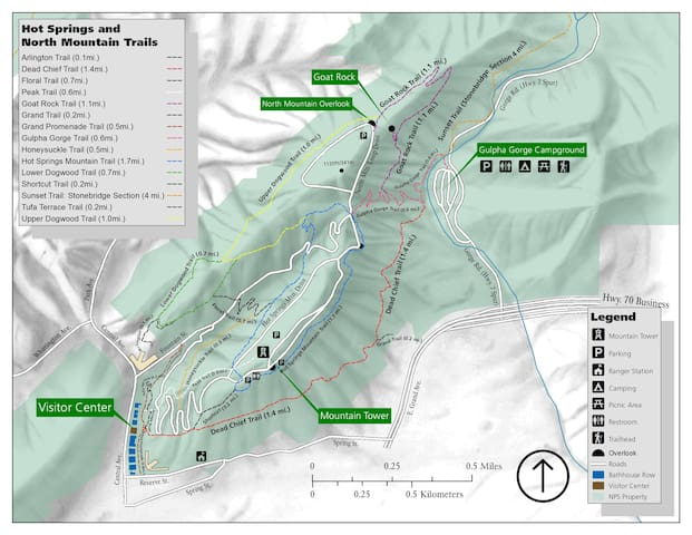 There are many walking trails in Hot Springs National Park. Here's a map of the North Mountain trails.