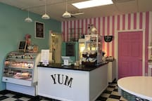 B Sweet Confectionary is just a minute walk away. Awesome cupcakes, breakfasts, and lunches.