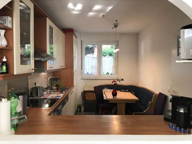 Offene Küche mit Blick auf Wohnzimmer und Garten