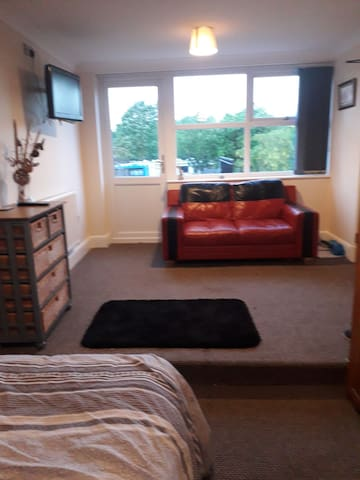 Room 1, Double bed, sofa and en suite