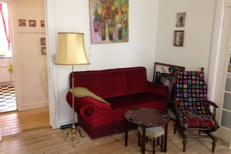 Tiny double bed on floor/hosted by sweet family