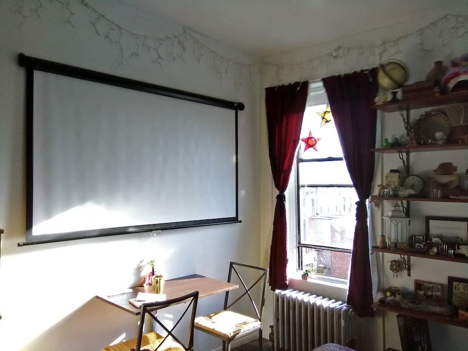 Projector screen for all your movie watching pleasures.