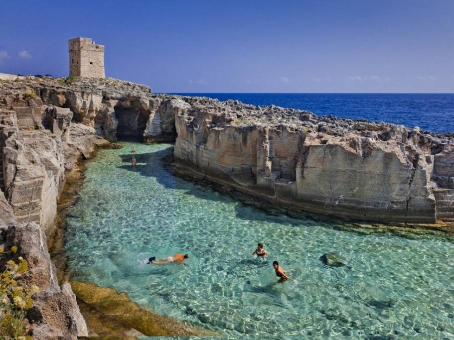 Torre Palane - Marina Serra natural pool in front of Villa Lina