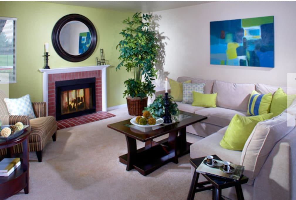 Fireplace is not room heating but is good for ambiance and sectional fits 2 people to sleep on