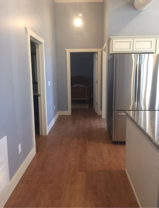 Hallway to 2 bedrooms