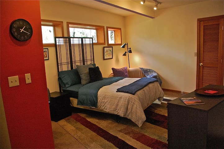 studio apt - full size bed, couch, chest of drawers